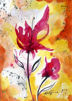 Floral Impressions ... No.6 ... Original Abstract Floral Painting by Kathy Morton Stanion EBSQ