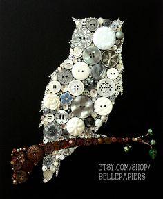 Button art ...super cute owl