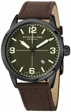 RM327.05 ($100.00) Stuhrling Original Men's 449.3355K5 Aviator Tuskegee Classic Swiss Quartz Date Brown Leather Strap Watch