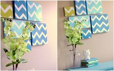 shoebox lids turned into cool decor to spice up your walls. Just tape your design and paint.