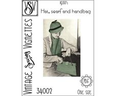1930's Hat scarf and handbag One size VSV 30003 | Etsy