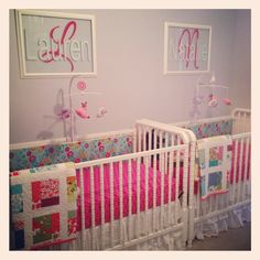 Twin Baby Girl Bedroom Ideas never thought of putting cribs back to back for twins, this is