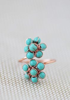 I seriously love turquoise   Floral Infinity Ring | Modern Vintage Jewelry