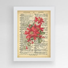 Christmas Poinsetitia Vintage Dictionary Red by photoplasticon