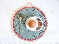 Bessie, modern folk kitchen decor, hand crochet pot holder in duck egg blue, rose pink & beige - MADE TO ORDER, by Emma Lamb