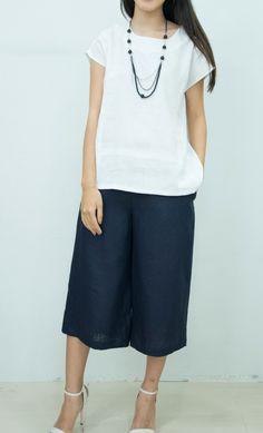 Free Post White Linen Blouse , Linen Short Sleeve Shirt, Linen Clothing, Linen Top for Women, Linen Tunic for Women Handmade to Order (L006) by LindaBrandonDesigns on Etsy https://www.etsy.com/in-en/listing/288652831/free-post-white-linen-blouse-linen-short