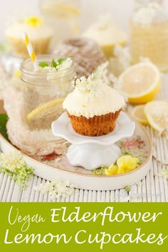Vegan Lemon Elderflower Cupcakes combine delicate elderflower sponge cakes with homemade vegan lemon curd and a tangy, fresh & sweet lemon curd frosting. Gluten Free Cupcakes, Vegan Cupcakes, Baking Cupcakes, Vegan Cake, Candy Recipes, Cupcake Recipes, Baking Recipes, Dessert Recipes, No Bake Desserts