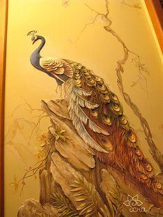 объемная роспись стен ПАВЛИН