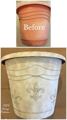 Plastic flower pot transformation from TLC Vintage Collection! Artisan Enhancements Fine Stone and Clear Topcoat Sealer are exterior grade which means they are great products to have on hand as you are updating your outdoor decor for the Spring/Summer months!
