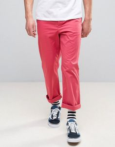 ASOS Straight Chinos In Washed Red - Red