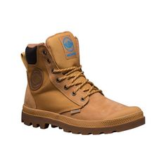 Palladium Pampa Sport Cuff WPN Boot - Amber Gold/Mid Gum Waterproof... ($120) ❤ liked on Polyvore featuring shoes, boots, brown, waterproof boots, palladium boots, sports boots, sport shoes and waterproof footwear