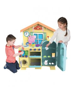 This fantastic Peppa Pig kitchen will make the ideal gift for any little budding chef or Peppa fan! The free standing kitchen comes with features including a cooker, hob, fridge, washing machine and sink as well as pull out recycling drawers and an egg timer shaped like a chicken! The hob flips over to reveal a cute Peppa Pig toaster and the 21 fun accessories include a flipping pancake, food, cutlery and pans that will further fuel their imagination.