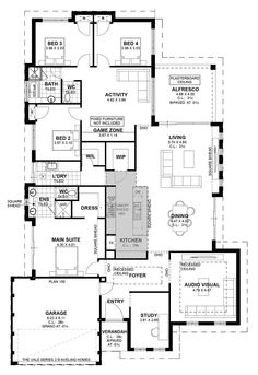 Lose audio visual, make study bigger and have it still flow well. Drop zone by front door. Luxury House Plans, Best House Plans, Country House Plans, Dream House Plans, Small House Plans, House Floor Plans, House Yard, House Rooms, Woodland House