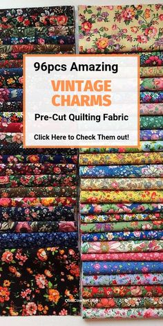 Get 96 Pieces of Vintage Charm Packs - Quilt Making Pre-Cut Fabric. High Quality Quilting Fabric Squares at our Top Notch Online Quilt Supplies Store. Quilting Tips, Machine Quilting, Quilting Projects, Modern Quilting, Machine Applique, Hand Quilting, Embroidery Designs, Quilting Designs, Applique Designs