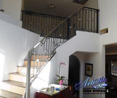 Wrought iron stair railings Interior Stair Railing, Wrought Iron Stair Railing, Iron Railings, Boulder City, North Las Vegas, Design, Home Decor, Modern, Interior Design