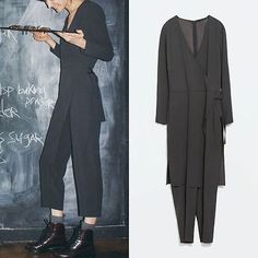 ZARA-NWT-WOMEN-S-Gray-Studio-skort-jumpsuit-BLACK-NEW-SEASON-SS15-Ref-2001-761