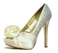 Ivory diamante Rose Trim Bridal Shoes by Perdita's  #wedding #shoes www.finditforweddings.com