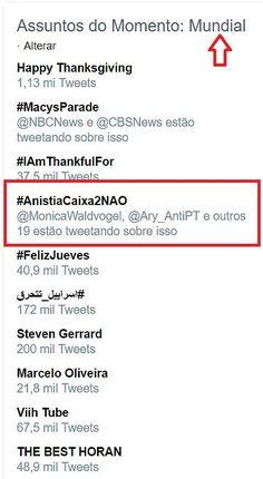 O Antagonista - #AnistiaCaixa2NÃO no topo do mundo
