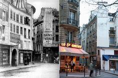 La place Saint-André des Arts 1850 / 2007. Paris