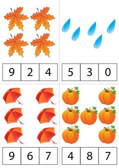 Fall Preschool Activities, Preschool Math, File Folder Activities, Kindergarten Math Worksheets, Math Projects, Learning Numbers, Montessori Activities, Math For Kids, Math Lessons