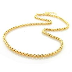 Gold Plated 300 Gauge Box Link Chain Necklace 16in 18in 20in 24in 30in