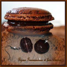 Boucle d'oreille macaron chocolat