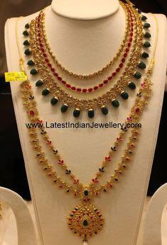 Manepally jewellery uncut diamond latest designs, layered uncut diamond ruby necklace, two step uncut diamond haram, uncut diamond mango haram with rubies emeralds