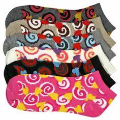$10.99 cool Colorful Swirl Printed Ladies 6 Pack Assorted Ankle Socks