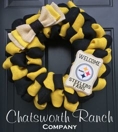 Pittsburgh Steelers Burlap Wreath NFL Pennsylvania  Football Sports Wreath Steelers Nation Heinz Field
