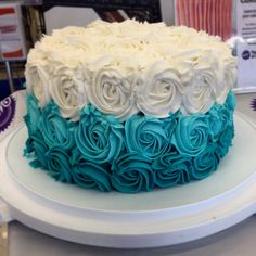Teal Ombré Rose Cake by DZPastryChef