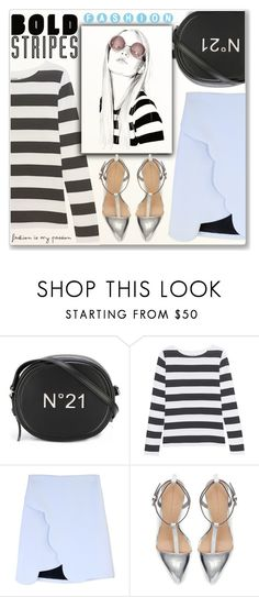 """Bold Stripes"" by myfashionwardrobestyle ❤ liked on Polyvore featuring N°21, Juvia, Carven, Zara, stripes, polyvoreeditorial, stripedshirt and Poyvore"