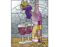 Lollie's cabinet 3 (c) 25.5 inches x 20 inches wine glass bottle and table and grapes stained glass pattern []$3.00 | PDQ Patterns