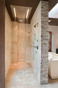 Home Depot shower cabin with contemporary bathroom and beige stone wall . - Home Depot shower cabin with contemporary bathroom and beige stone wall - Bad Inspiration, Bathroom Inspiration, Dream Bathrooms, Small Bathroom, Bathroom Ideas, Master Bathrooms, Stone In Bathroom, Bathroom Designs, Rain Shower Bathroom