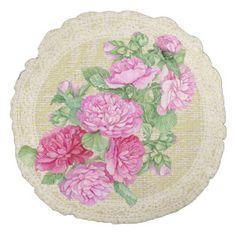 Rose mallow & lace floral vintage pillow round pillow