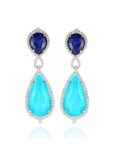 Doves - 18k Turquoise and Lapis Diamond Drop Earrings - at - London Jewelers