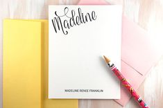 Personalized Thank You Stationery set PS074 Personalized note cards for women Custom Stationary Set for women Calligraphy Stationery set