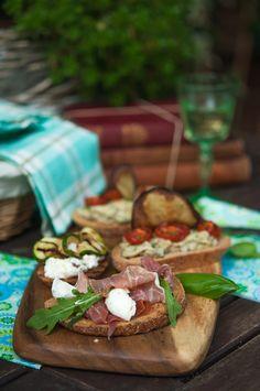 Serrano and Mozzarella Bruschetta | Gourmantine...Prosciutto di Palma much much better