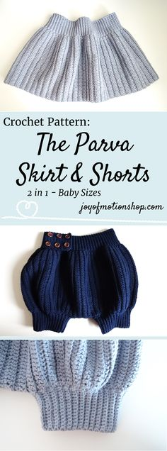The Parva Skirt & Shorts. 2 in 1 crochet pattern for a baby skirt & shorts. This is a easy pattern & are described in detail. Buy this pattern & gift the new mother & child. Diaper. | Romper crochet pattern | baby romper pattern | baby crochet pattern | children's crochet pattern | parva skirt crochet pattern | parva shorts crochet pattern | joy of motion design | crochet pattern for baby girl | crochet pattern for newborn | baby boy. Click to purchase or repin to save it forever.