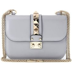 Valentino Lock Small Leather Shoulder Bag (5,805 ILS) ❤ liked on Polyvore featuring bags, handbags, shoulder bags, grey, grey handbags, leather purses, gray leather purse, gray purse and grey purse