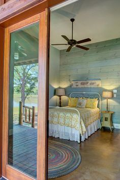 Go with a colored stain to show the details in the wood. Who needs artwork in a room like this?