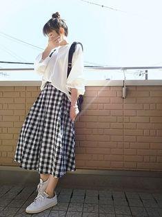 ミディ丈スカートでnoロールアッパー٩(˙³˙ ) スウェット×ギンガムチェックスカート ボックスプ