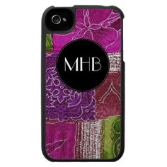 Monogram Patchwork Flowers Pink Green Purple Black Case For The iPhone 4