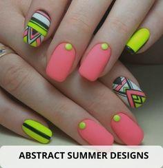 Cute Easy Nail Designs, Neon Nail Designs, Short Nail Designs, Acrylic Nail Designs, Summer Toe Nails, Summer Acrylic Nails, Two Color Nails, Nail Colors, Cute Simple Nails