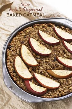 Refined sugar free, dairy free, gluten free, Vegan Apple and Gingerbread Baked Oatmeal via /ExSloth/ | http://ExSloth.com
