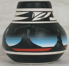 "Desert Storm Pottery - Arch Canyon Pot. 5-1/2"" x 5"". Authentic Native American Pottery hand painted by Navajo and Ute Indian Artists. Certificate of Authenticity with each piece. Pottery. Southwest Pottery. Native American Pottery.  $30.95"