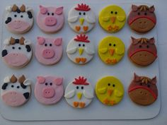 Imagen relacionada Farm Animal Birthday, Farm Birthday, Baby Cookies, Sugar Cookies, Baking With Kids, Fondant Cupcakes, Farm Party, Party Treats, Holidays And Events