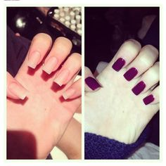 Kylie Jenner nude and dark purple nails