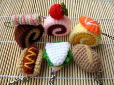 Crochet Cell Phone Charm - Swiss Roll and Bread