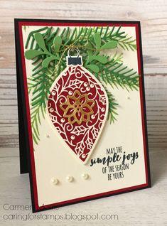 Was de kaart van gisteren misschien erg basic, vandaag heb ik een van de kerstballen aan takjes gehangen. Ik ben helemaal verliefd o...