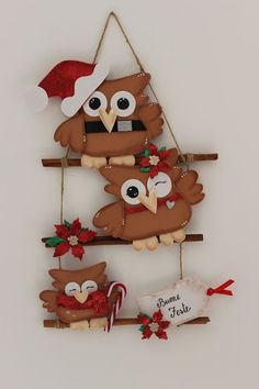Le creazioni di Maichi Christmas Makes, Christmas Crafts, Christmas Ornaments, Rock Crafts, Diy And Crafts, Felt Crafts Patterns, Felt Owls, Felt Christmas Decorations, Christmas Embroidery